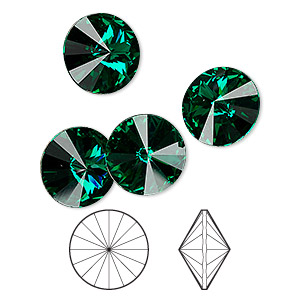 chaton, swarovski crystal rhinestone, crystal passions, emerald, foil back, 12mm faceted rivoli (1122). sold per pkg of 48.