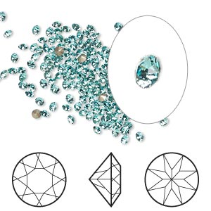 chaton, swarovski crystal rhinestone, crystal passions, light turquoise, foil back, 2-2.1mm xirius round (1088), pp14. sold per pkg of 12.