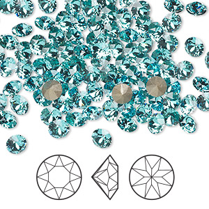 chaton, swarovski crystal rhinestone, crystal passions, light turquoise, foil back, 4.4-4.6mm xirius round (1088), ss19. sold per pkg of 144 (1 gross).