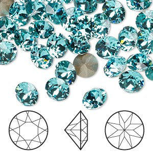 chaton, swarovski crystal rhinestone, crystal passions, light turquoise, foil back, 7.07-7.27mm xirius round (1088), ss34. sold per pkg of 48.