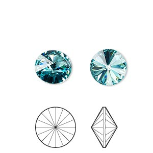 chaton, swarovski crystal rhinestone, crystal passions, light turquoise, foil back, 10.54-10.91mm faceted rivoli (1122), ss47. sold per pkg of 4.
