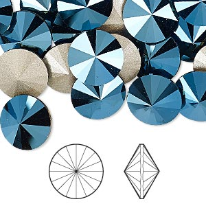 chaton, swarovski crystal rhinestone, crystal passions, metallic blue, foil back, 12mm faceted rivoli (1122). sold per pkg of 4.
