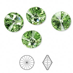 chaton, swarovski crystal rhinestone, crystal passions, peridot, foil back, 12mm faceted rivoli (1122). sold per pkg of 4.