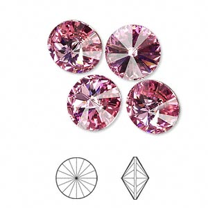 chaton, swarovski crystal rhinestone, crystal passions, rose, foil back, 12mm faceted rivoli (1122). sold per pkg of 48.