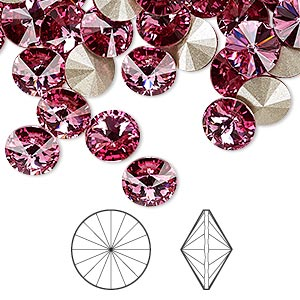chaton, swarovski crystal rhinestone, crystal passions, rose, foil back, 8.16-8.41mm faceted rivoli (1122), ss39. sold per pkg of 48.