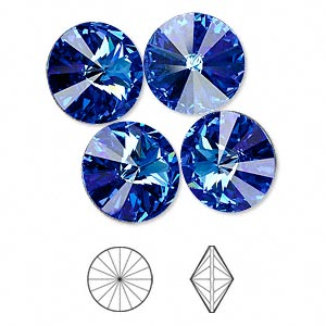 chaton, swarovski crystal rhinestone, crystal passions, sapphire, foil back, 14mm faceted rivoli (1122). sold per pkg of 4.