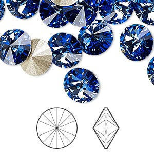 chaton, swarovski crystal rhinestone, crystal passions, sapphire, foil back, 10.54-10.91mm faceted rivoli (1122), ss47. sold per pkg of 48.