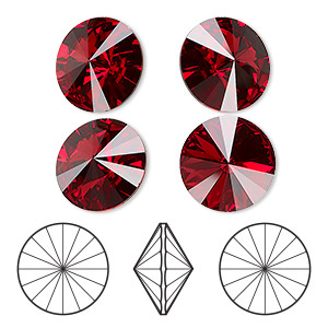 chaton, swarovski crystal rhinestone, crystal passions, scarlet, foil back, 14mm faceted rivoli (1122). sold per pkg of 4.