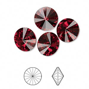 chaton, swarovski crystal rhinestone, crystal passions, siam, foil back, 12mm faceted rivoli (1122). sold per pkg of 4.