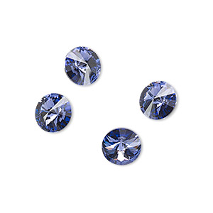 chaton, swarovski crystal rhinestone, crystal passions, tanzanite, foil back, 8.16-8.41mm faceted rivoli (1122), ss39. sold per pkg of 4.
