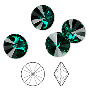 chaton, swarovski crystal rhinestone, emerald, foil back, 14mm faceted rivoli (1122). sold per pkg of 144 (1 gross).