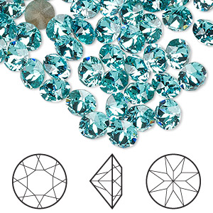 chaton, swarovski crystal rhinestone, light turquoise, foil back, 6.14-6.32mm xirius round (1088), ss29. sold per pkg of 288 (2 gross).