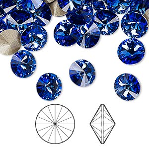 chaton, swarovski crystal rhinestone, sapphire, foil back, 8.16-8.41mm faceted rivoli (1122), ss39. sold per pkg of 144 (1 gross).