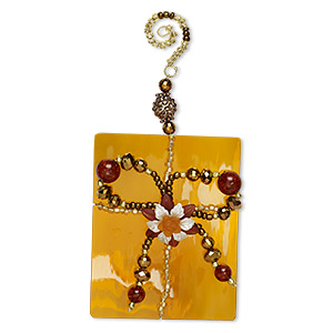 circle of hope ornament, glass, amber and gold, 6-1/2 x 3-1/4 inch present. only one available.