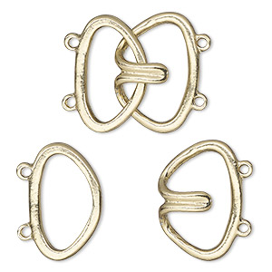 clasp, 2-strand hook, gold-finished brass, 24x22mm. sold per pkg of 10.