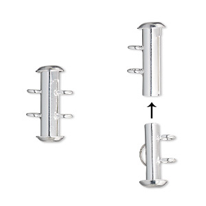 clasp, 2-strand slide lock, silver-plated brass, 16x6mm round tube. sold per pkg of 4.