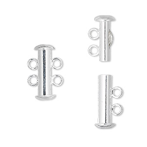 clasp, 2-strand slide lock, silver-plated brass, 16x6mm tube. sold per pkg of 10.