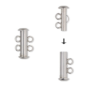 clasp, 2-strand slide lock, stainless steel, 16.5x6mm tube. sold per pkg of 4.