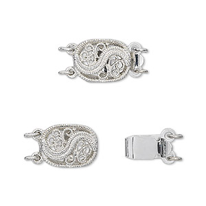 clasp, 2-strand tab, antique silver-plated brass, 12x9mm filigree oval. sold per pkg of 4.