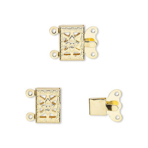 clasp, 2-strand tab, gold-plated brass, 10x7mm filigree square with flower. sold per pkg of 10.