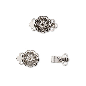 clasp, 2-strand tab, imitation nickel-plated brass, 9x9mm flower. sold per pkg of 10.