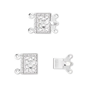 clasp, 2-strand tab, silver-plated brass, 10x7mm filigree square. sold per pkg of 100.