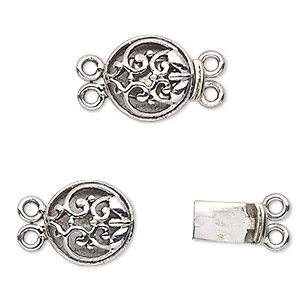 clasp, 2-strand tab, sterling silver, 13mm round. sold individually.
