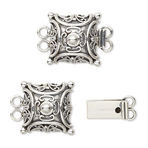 clasp, 2-strand tab, sterling silver, 15x15mm filigree square. sold individually.
