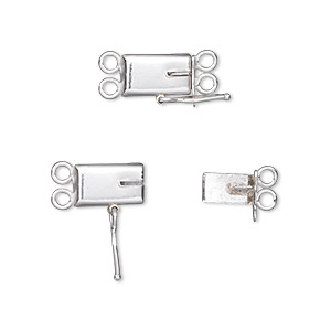 clasp, 2-strand tab with safety, sterling silver, 10x6mm smooth rectangle. sold individually.