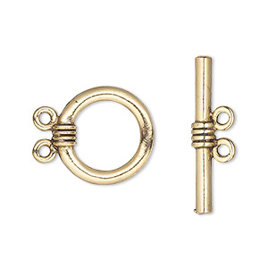 clasp, 2-strand toggle, antique gold-plated pewter (tin-based alloy), 16mm round. sold per pkg of 2.