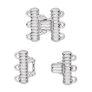 clasp, 3-strand hook-and-eye, 14ktw white gold, 16x14mm corrugated tube. sold individually.