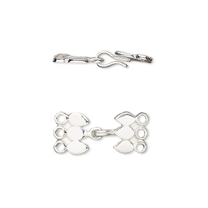 clasp, 3-strand hook, antiqued sterling silver, 16x9mm. sold per pkg of 2.