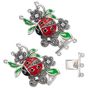 clasp, 3-strand tab, cloisonne, signity marcasite (natural) / enamel / cubic zirconia / antiqued sterling silver, red / black / green, 37x26mm ladybug on flower. sold individually.