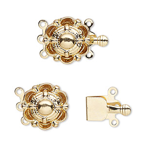 clasp, 3-strand tab, gold-finished brass, 14mm round with scallop design. sold per pkg of 10.