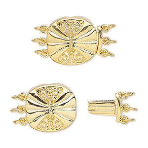 clasp, 3-strand tab, gold-plated brass, 15x14.5mm round butterfly. sold per pkg of 4.