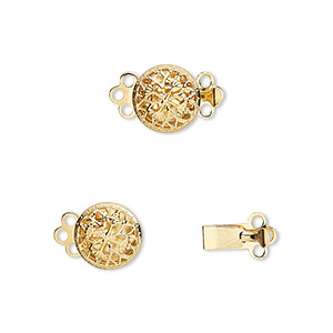 clasp, 3-strand tab, gold-plated brass, 9mm filigree round. sold per pkg of 100.