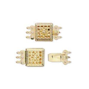 clasp, 3-strand tab, gold-plated brass, 9x9mm square with flower. sold per pkg of 2.