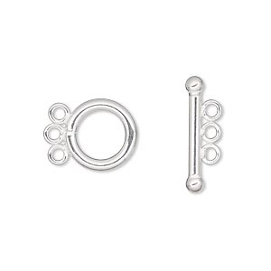 clasp, 3-strand toggle, sterling silver-filled, 12mm smooth round. sold individually.