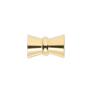 clasp, 4-strand magnetic, gold-plated brass, 17x11mm bowtie. sold individually.