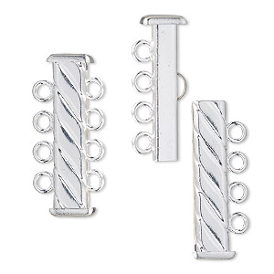 clasp, 4-strand slide lock, silver-plated brass, 26x7mm corrugated rectangle tube. sold per pkg of 4.