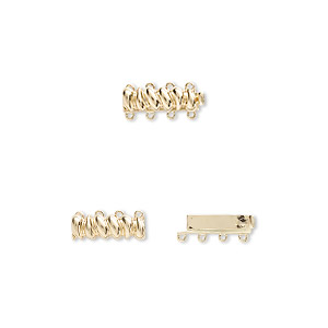 clasp, 4-strand tab, 14kt gold, 19.5x6.5mm barrel. sold individually.