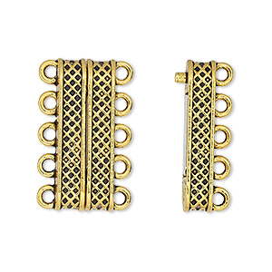 clasp, 5-strand magnetic, antique gold-finished pewter (zinc-based alloy), 24.5x9mm rectangle with textured design. sold individually.