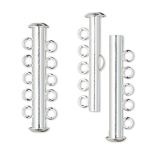 clasp, 5-strand slide lock, silver-plated brass, 31x6mm tube. sold per pkg of 4.