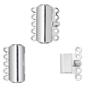 clasp, 5-strand tab, silver-plated brass, 19x8mm curved rectangle. sold per pkg of 100.