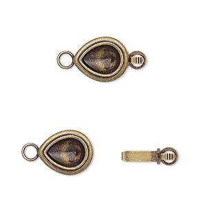 clasp, almost instant jewelry, tab, antique gold-plated brass, 12x10mm teardrop with 8x6mm pear setting. sold per pkg of 4.