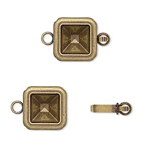 clasp, almost instant jewelry, tab, antique gold-plated brass, 13x13mm square with 8x8mm square setting. sold per pkg of 4.