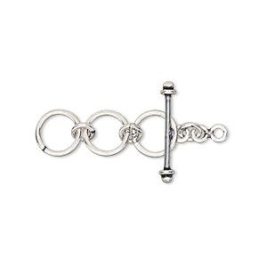 clasp, antiqued sterling silver, 8mm toggle with multiple loops for extender. sold individually.