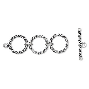 clasp, antiqued sterling silver, three 16mm rings, 62x24mm toggle. sold individually.