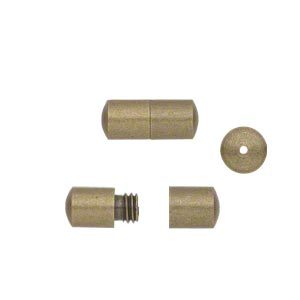 clasp, barrel, antique gold-finished brass, 12x5mm smooth round tube. sold per pkg of 20.