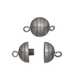 clasp, barrel, antique silver-finished brass, 11mm textured round with fancy design. sold per pkg of 4.